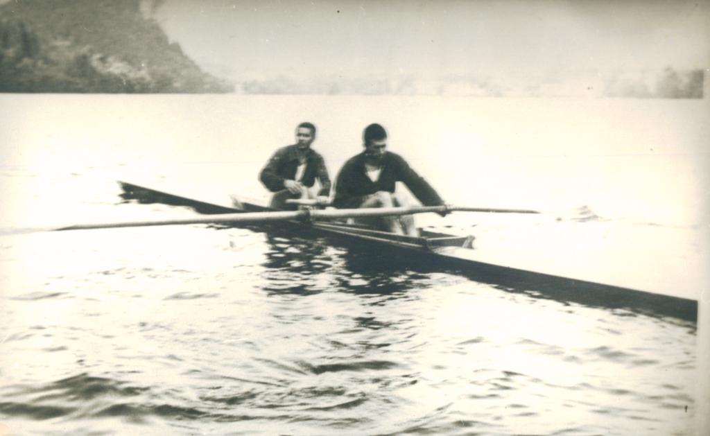 Dvojac bez kormilara, Brana Andrić, Bogdan Krga, Bled, 1959.